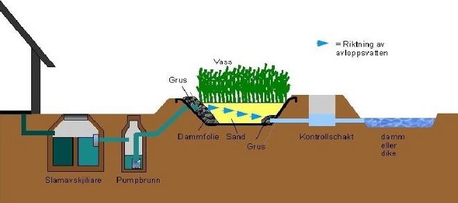 Växtreningsverk horisontal principskiss